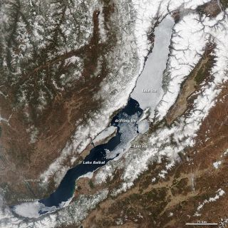 Lake Baikal as seen by NASA's Aqua satellite on May 4 as the ice that covers it in the winter begins to melt.