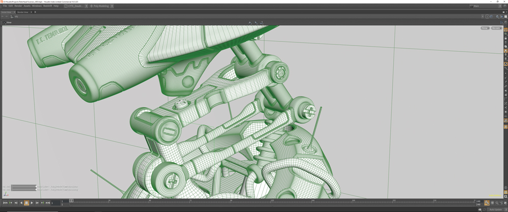 Part of a 3D modelled robot in Houdini interface
