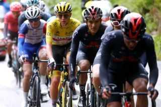 Richard Carapaz (Ineos Grenadiers) and Tadej Pogacar (UAE Team Emirates) during stage 9 at the Tour de France