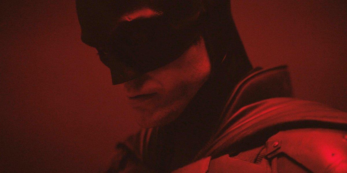 A close-up on the cowl of Robert Pattinson's Batman suit
