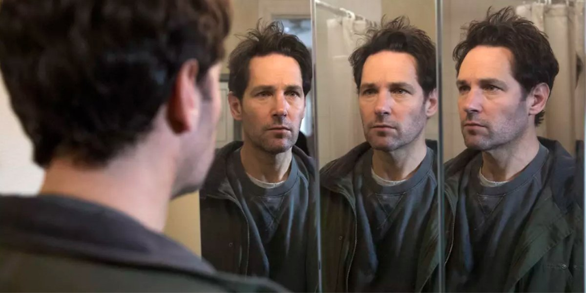 Paul Rudd looks in mirror Living With Yourself Netflix