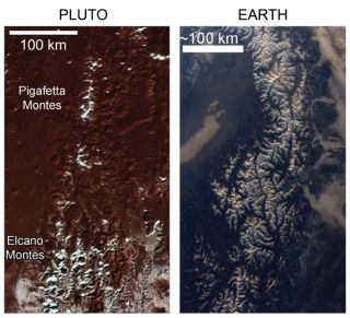The snowcapped mountains of Pluto's Pigafetta Montes and Elcano Montes and the Alps on Earth are seen side by side in this view.