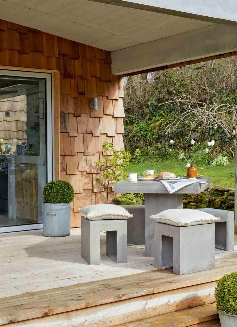 modern garden ideas with modern concrete furniture