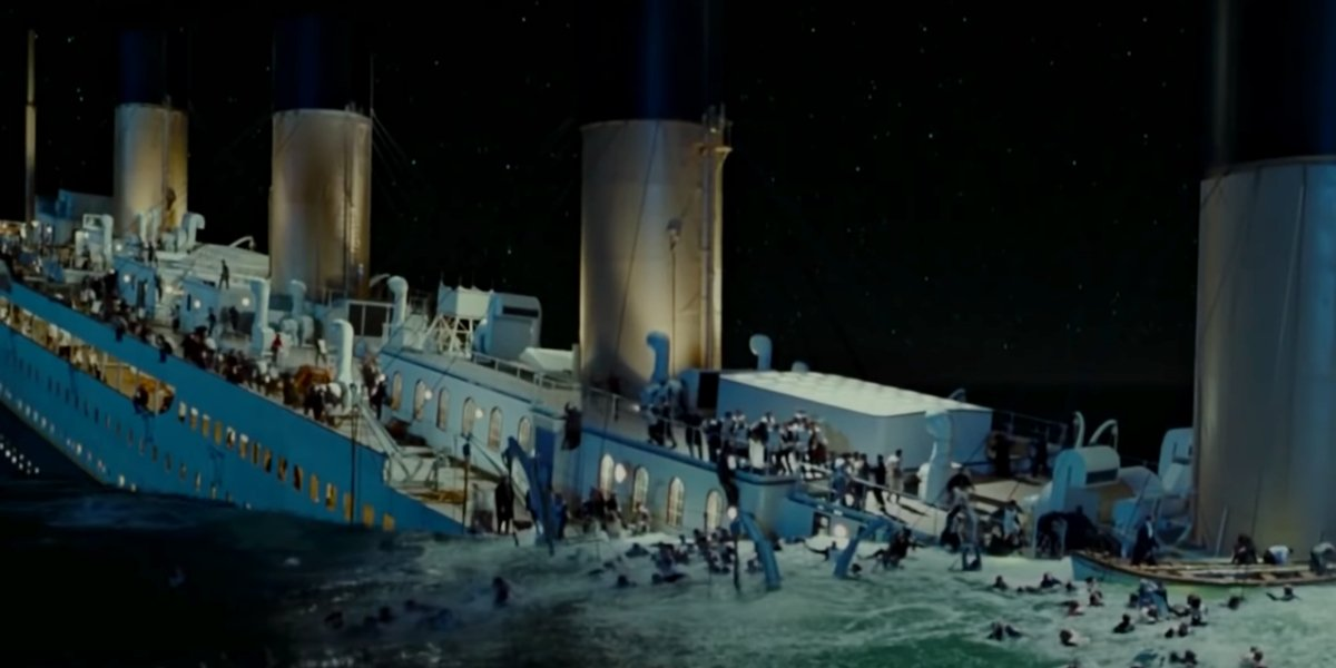 The sinking of the Titanic in Titanic