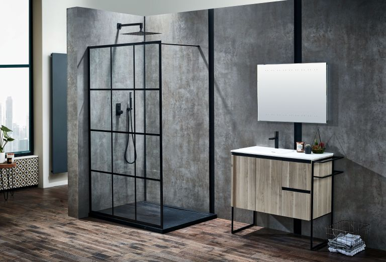 Frontline bathroom with flush shower enclosure and LED mirror