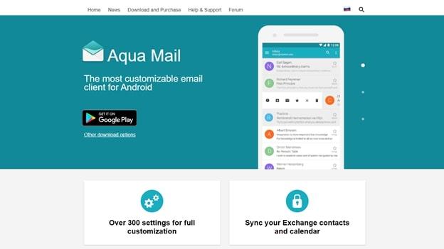 aqua mail's app homepage
