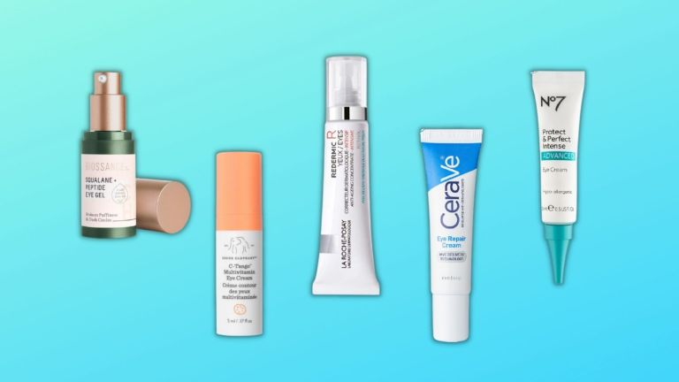 Best eye creams for wrinkles: graphic of products including La Roche-Posay, Drunk Elephant, and more