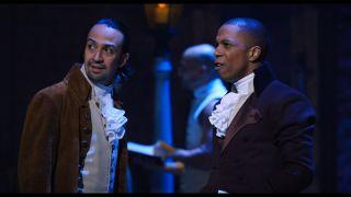 "Lin-Manuel Miranda, left, and Leslie Odom Jr. in ""Hamilton."""