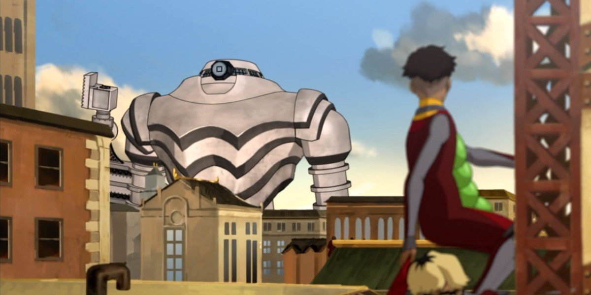 A giant mecha in the background