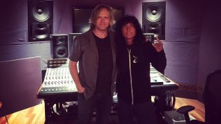 A picture of Joey Belladonna in the studio with Jay Ruston