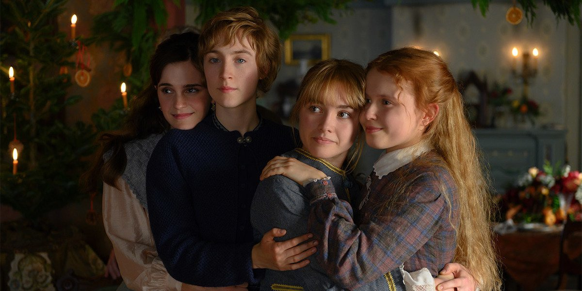 Emma Watson, Saoirse Ronan, Florence Pugh and Eliza Scanlan as March Sisters in Little Women