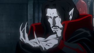 Castlevania's Dracula makes a menacing gesture with his clawed hand