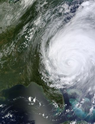 Hurricane Irene off the Carolinas, North America. NASA image captured August 26, 2011, 2011, at 16:30 UTC (12:30 p.m EDT).