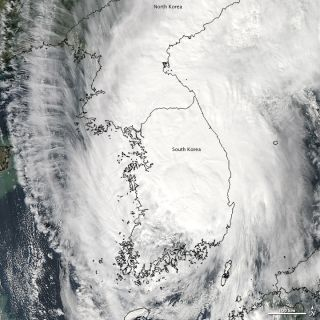 NASA's Terra satellite captured this image of Typhoon Sanba as it engulfed the Korean peninsula earlier today (Sept. 17).