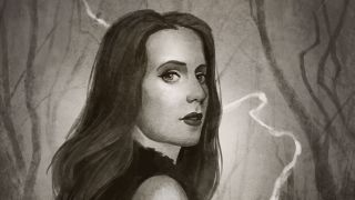 An illustration of Simone Simons drawn in an Opeth-esque style