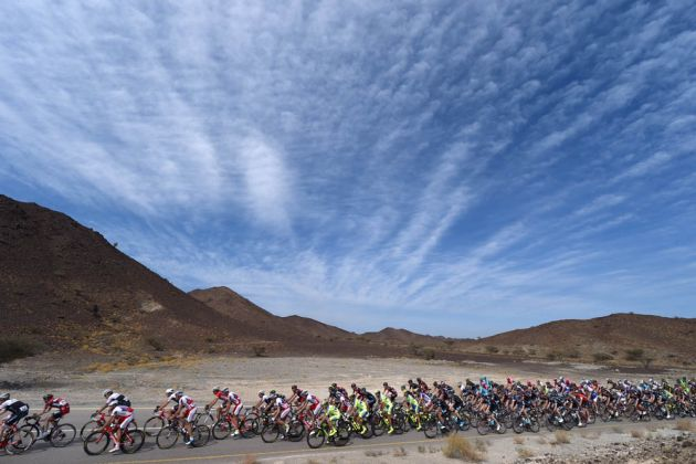 The peloton on stage four of the 2015 Tour of Oman