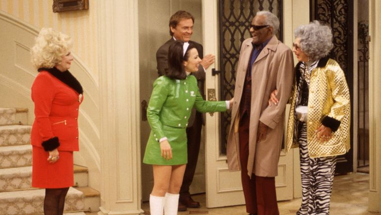 Fran greets Sammy Portnoy, portrayed by American singer Ray Charles (1930 - 2004), at the door in a scene from 'The Nanny' episode 'Fair Weather Fran,' Los Angeles, California, November 6, 1997.