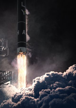 Artist's illustration of Firefly Aerospace's Alpha rocket lifting off.