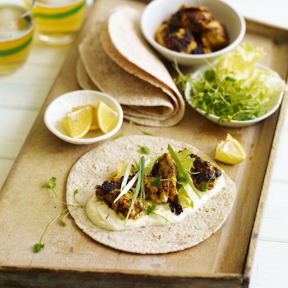 Chicken Tikka Chapati Wrap with Saffron Yogurt Recipe Recipe