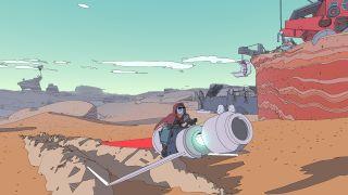 A jetbike tearing across the desert