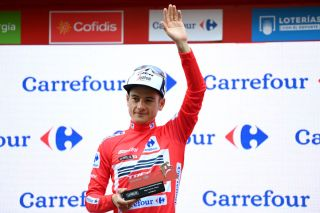 Kenny Elissonde (Trek-Segafredo) in the leader's jersey at the Vuelta a Espana