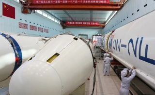 A Long March 2F rocket undergoes testing in the factory in Beijing, in January 2021.