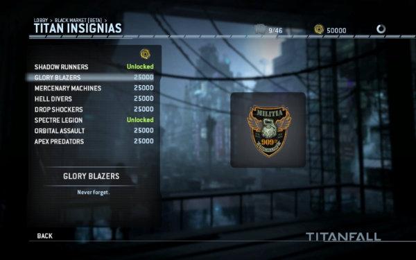 A screenshot of Titanfall's Black Market