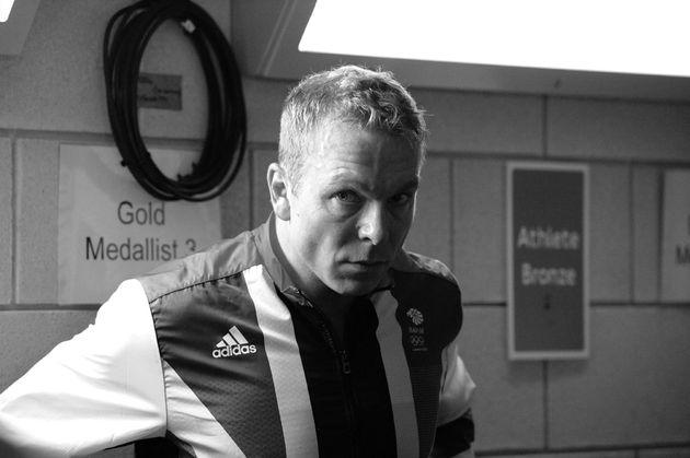 Sir Chris Hoy awaits podium, London 2012 Olympic Games, GB team sprinters