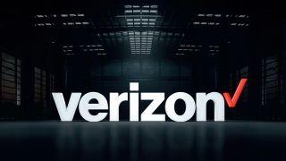 Verizon logo with a warehouse background