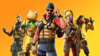 Five Fortnite characters mug for the camera in this yellow-tinged promo image