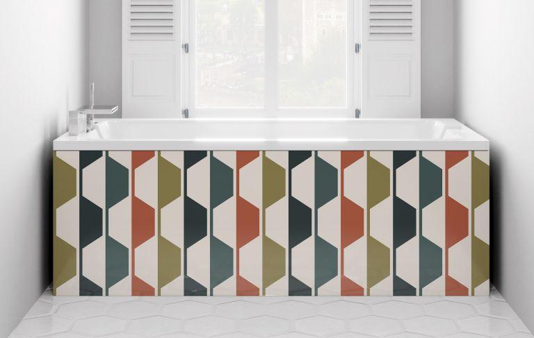 Bath panel: colourful geometric statement bath panel in a white modern bathroom
