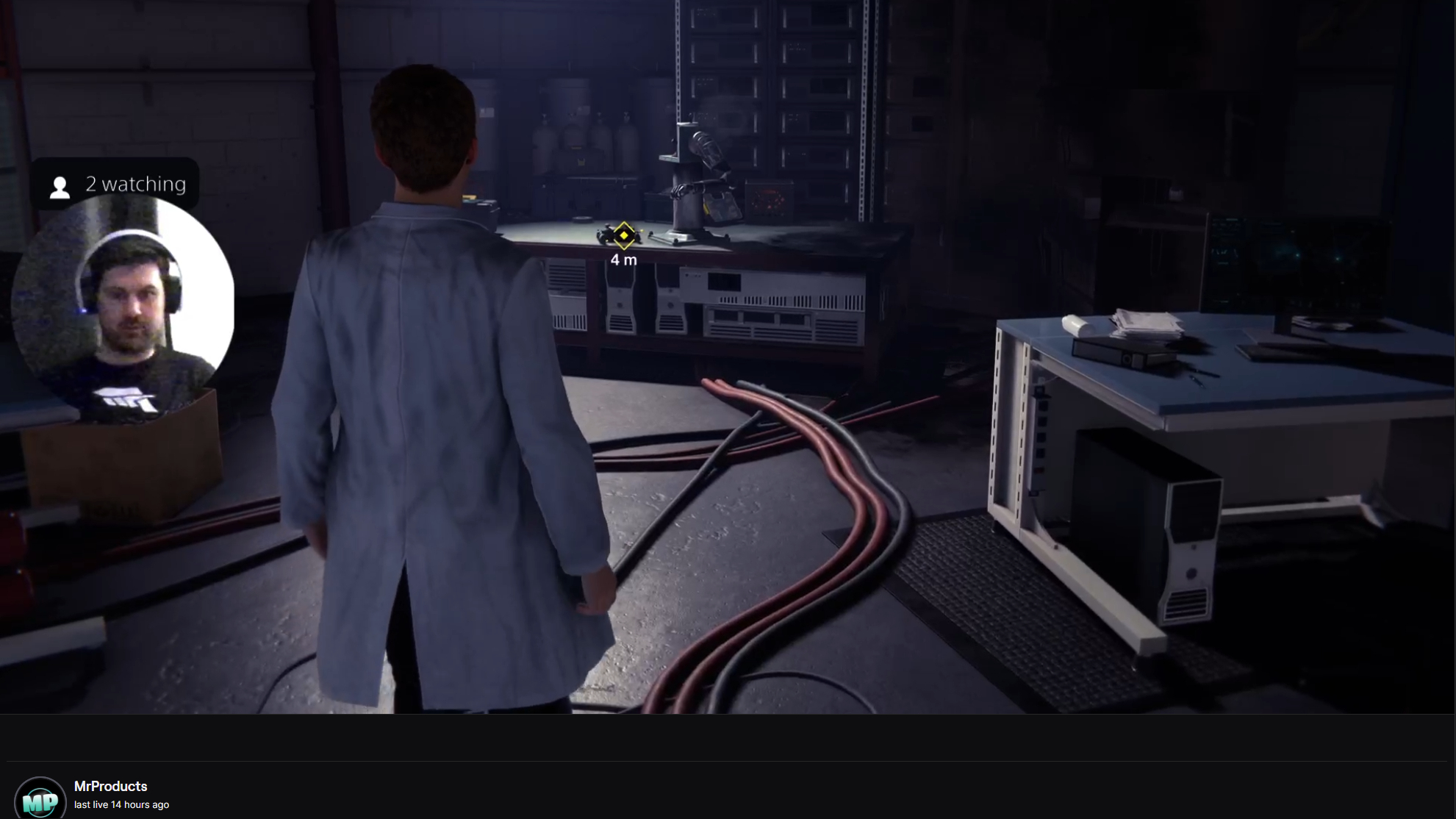 Peter Parker wearing a white lab coat in a Spider-Man Remastered Twitch stream