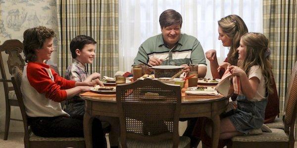 The Cooper family at dinner