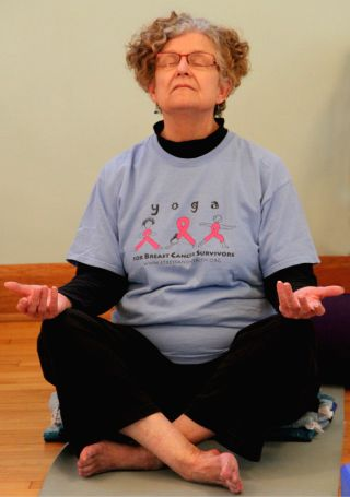 Sue Cavanaugh practices Yoga, breast cancer survivor