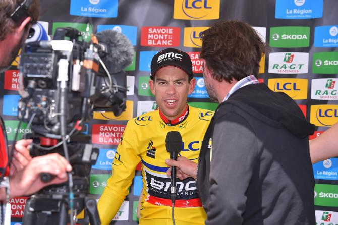 Richie Porte (BMC) enjoys his moment in yellow