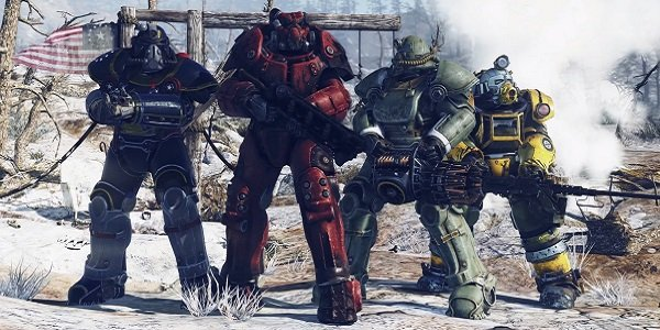 A bunch of people in Power Armor in Fallout 76.
