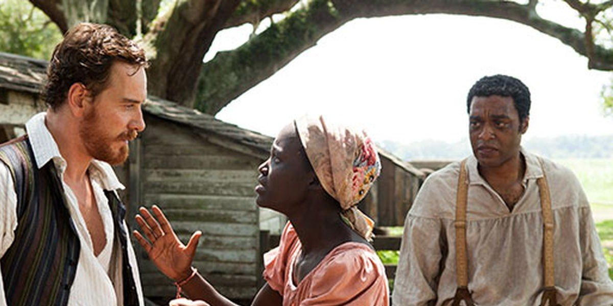 From left to right: Michael Fassbender, Lupita Nyong'o, and Chiwetel Ejiofor