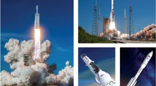 Clockwise from left: SpaceX's Falcon Heavy, ULA's Vulcan Centaur, Northrop Grumman's OmegA and Blue Origin's New Glenn rockets are all in the running to compete for a block of launch contracts the U.S. Air Force intends to divide between two providers during phase 2 of the Launch Service Agreements (LSA) program.