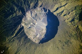 Mount Tambora, which produced one of the largest eruptions in recorded history on April 10, 1815, as seen in an image taken by an astronaut.
