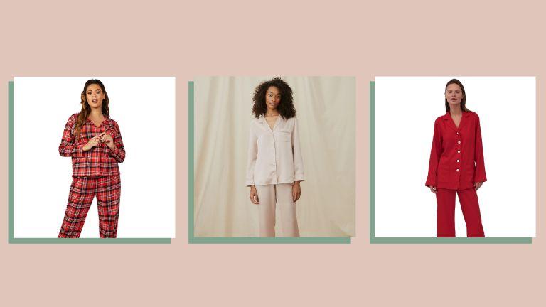 three of w&h's women's Christmas pyjamas picks on a beige background