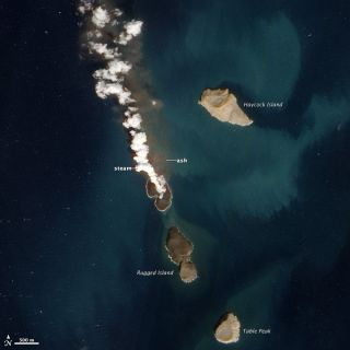 A new island forming in the Red Sea, about 60 kilometers (40 miles) from the coast of Yemen. This natural-color image was acquired by the Advanced Land Imager (ALI) aboard the Earth Observing-1 (EO-1) satellite.