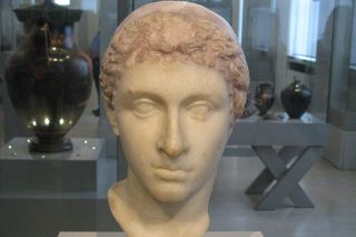 A marble bust of Cleopatra
