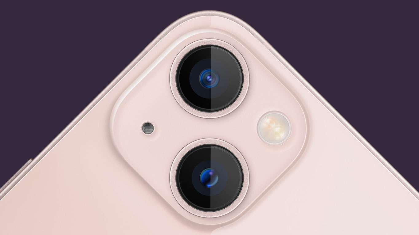 Close up of rear cameras on iPhone 13
