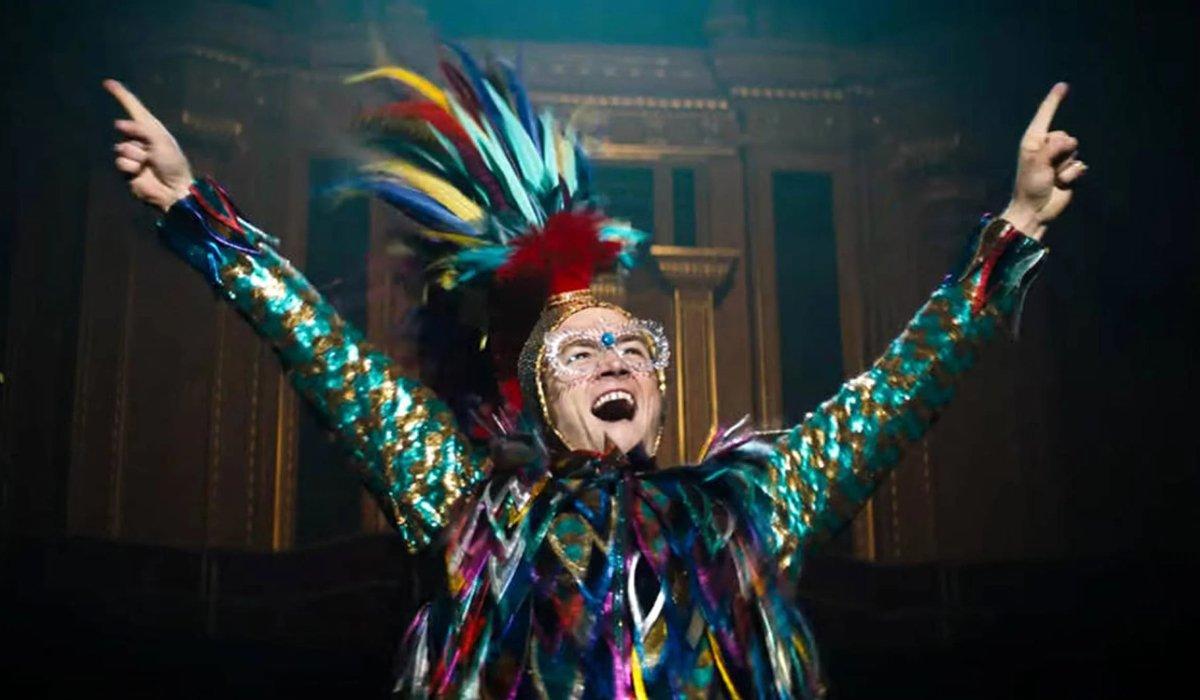 Rocketman Taron Egerton in one of Elton John's wild costumes