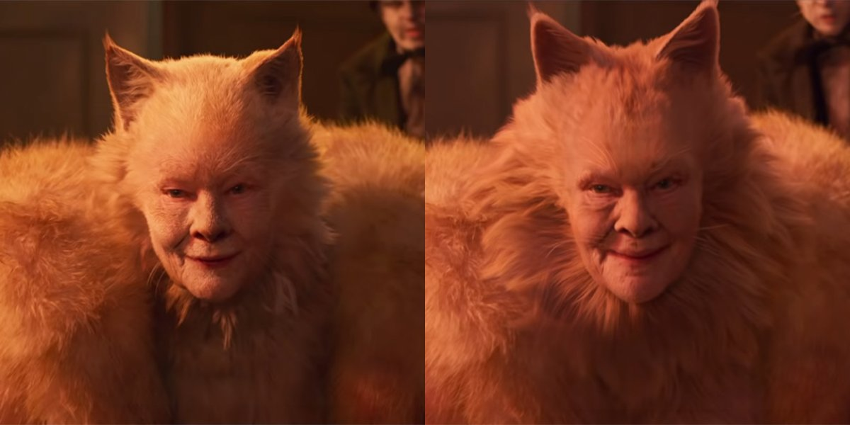 Judi Dench in the two Cats trailers