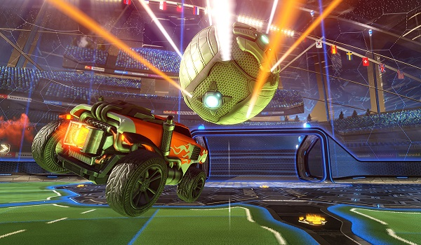 A car goes for a goal in Rocket League