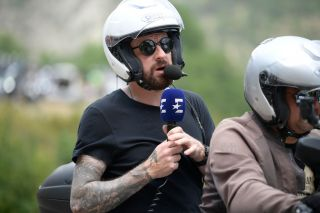 British former cyclist Sir Bradley Wiggins comments the race on a moto during stage 17 of the 106th edition of the Tour de France cycling race from Pont du Gard to Gap 200 km France Wednesday 24 July 2019 This years Tour de France starts in Brussels and takes place from July 6th to July 28th BELGA PHOTO YORICK JANSENS Photo credit should read YORICK JANSENSAFP via Getty Images