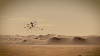 Artist's illustration of the Mars Helicopter Ingenuity flying in the Red Planet's skies.