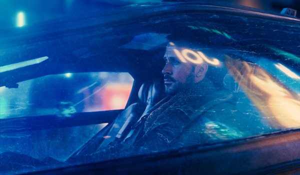 Blade Runner 2049 Ryan Gosling Officer K riding in his car at night
