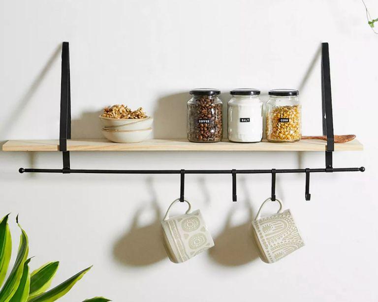 Samuel Iron & Wood Hook Wall Shelf